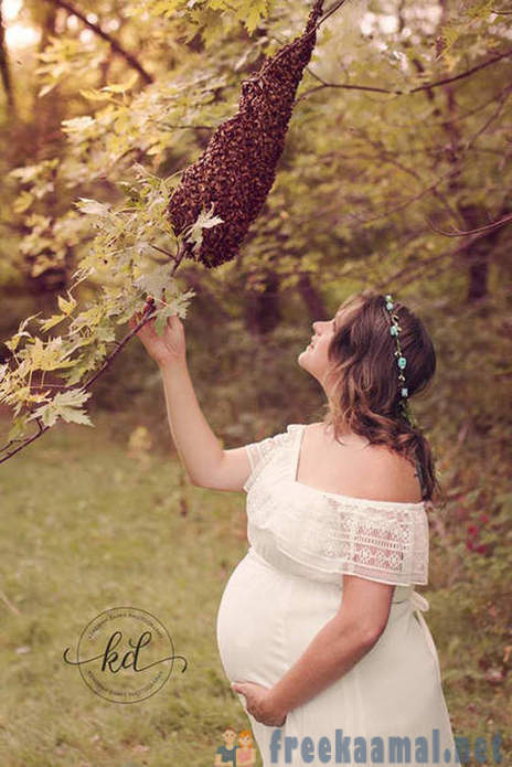 Photos of the pregnant woman with a swarm of bees
