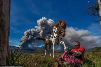 Fearless Indonesian people living near the erupting volcano Bromo