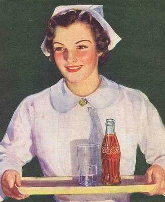 Vintage Coca-Cola advertisement with nurses