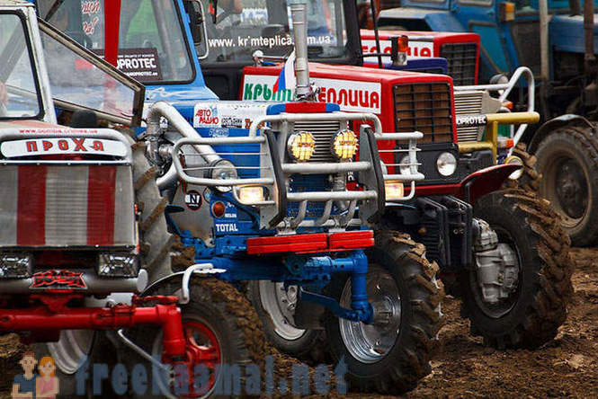 Racing on tractors in the Crimea